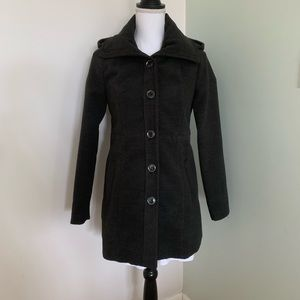 Forever 21 Hooded Button Front Overcoat